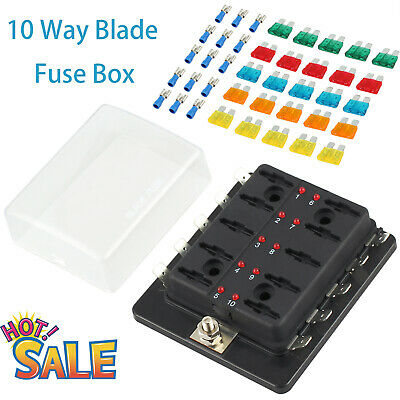 12V-32V 10 Way Blade Fuse Block Box Holder LED Light Circuit Caravan Truck Boat