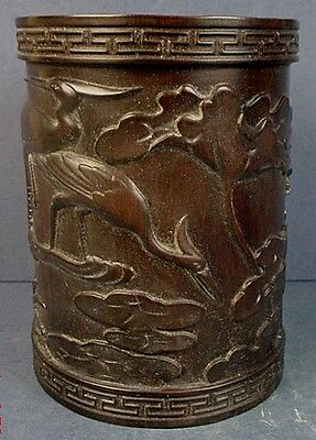 Antique Chinese Pottery Imitating Ebonized Wood 'Cranes & Lotus' Brush Pot