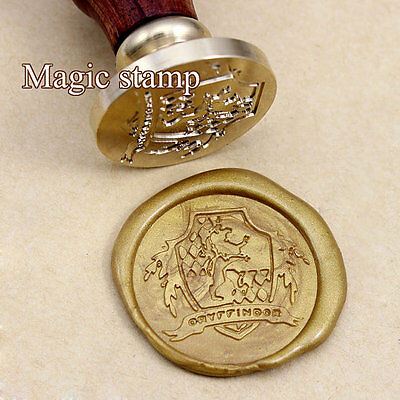 Harry Potter Brass Gryffindor Wax Seal Stamp Wooden Handle Hogwarts
