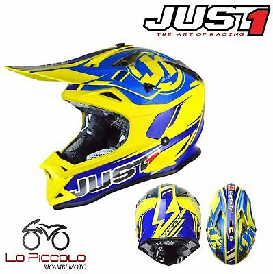 Casco Cross Enduro Just1 J32 Pro Rave Blue Yellow Blue Giallo Taglia S