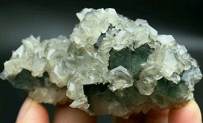 131g Beautiful Natural Green Cubic Fluorite with Calcite Crystal specimen