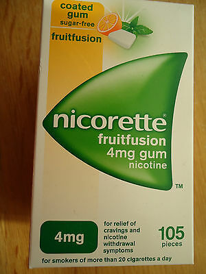 NICORETTE 4mg FULL STRENGTH fruitfusion sugar free gum  105 pieces fruit fusion