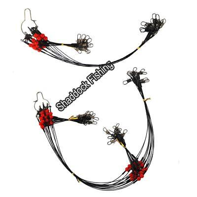 12Pcs Fishing Wire Rigs 2 Arms Wire Leader Guff Rigs with Swivels & Snaps Tackle