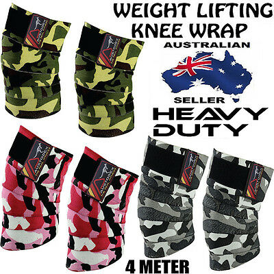 AUSTODEX POWERLIFTING KNEE WRAPS BODYBUILDING Weight lifting STRAPS WRAPS BRACE