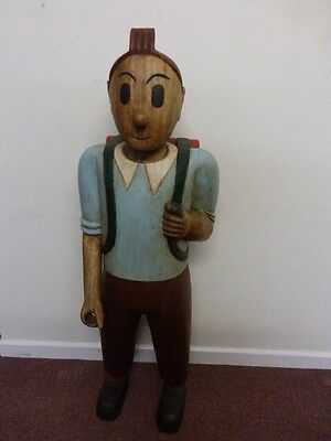 Very Rare Large Wooden Carved Model Of Tin Tin Very Heavy Solid Wood Stunning