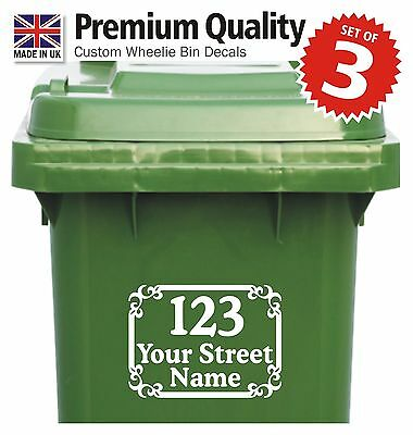 3x WHEELIE BIN NUMBERS Quality custom vinyl stickers with street/road/house name