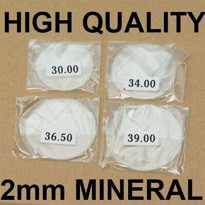 2mm thick MINERAL crystal glass glasses flat 30mm-40mm large watch crystals NEW