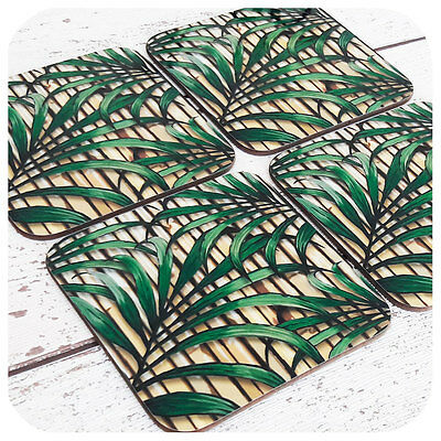 Tropical Palm Leaf and Bamboo Coasters, Tiki Bar Accessories, Tropical Decor