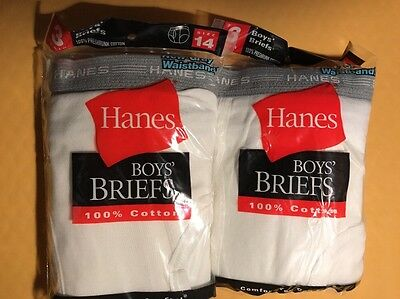 6 Pair HANES BOYS WHITE BRIEFS sz 14 in 2 Sealed 3-Packs