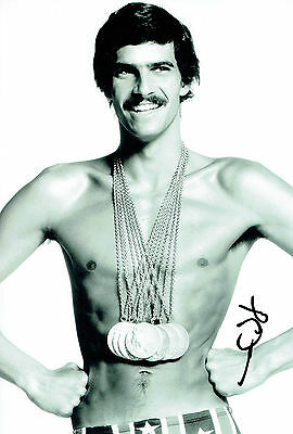 Mark SPITZ Autograph Signed 12x8 Photo AFTAL COA Gold Medal Swimmer