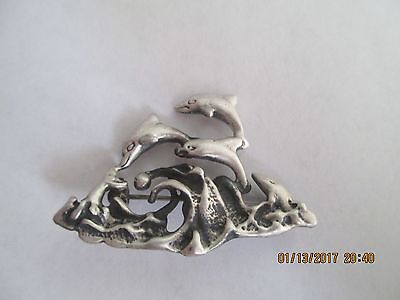 Dolphin Pin..STERLING SILVER..Diving over waves..Unique..New..Taxco