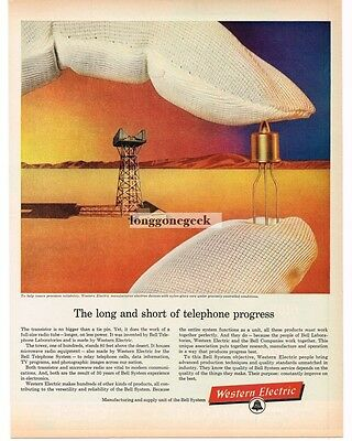 1961 WESTERN ELECTRIC Long and Short of Telephone Progress Vtg Print Ad