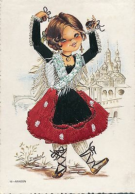 ARAGON Lady in Embroidered Traditional Dance Costume Spain Old Artistic Postcard