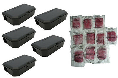 5 x PROFESSIONAL KILLER BAIT STATION BOX MOUSE MICE NO TRAP & PASTA Bait poison