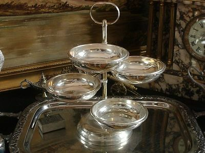 "4 Plates / Bowls Cascade Silver plated Fruit Bowl Vintage Antique 29 cm 11"" H"