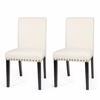 1Pair sleek Elegant parson Modern nailhead trim Dining Chairs Barton Furniture