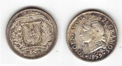 Dominican Republic - Silver 10 Centavos Coin 1959 Year Km#19