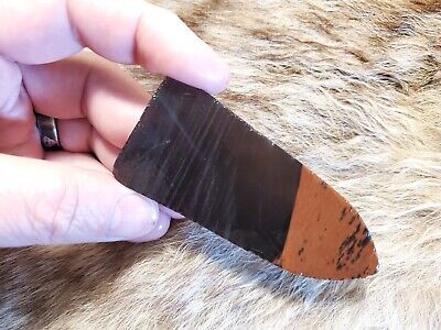 MIDNIGHT LACE Obsidian Flint Knapping Primitive Skinning Knife Preform Blank Hog