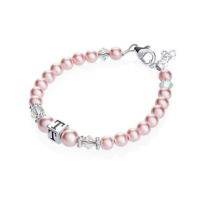 Personalized Sterling Silver Box Initial Bracelet with Pink Pearls With Clear Sw