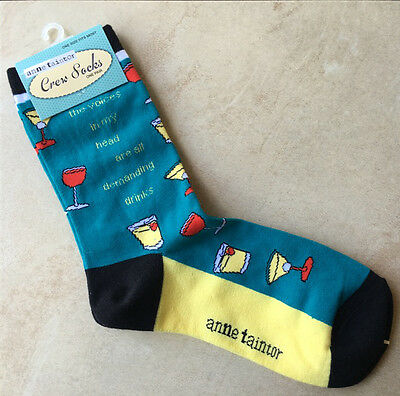 Cute Anne Taintor Crew Socks The Voices In My Head Are All Demanding Drinks, NWT