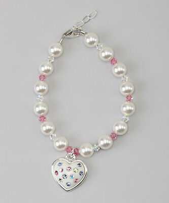 Swarovski White Pearls and Pink,Clear Crystals with Crystal Heart Charm Bracelet