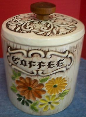 Vtg Treasure Craft Ceramic Coffee Canister Sculpted Flowers Wood Look White USA