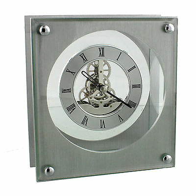 Modern Square Aluminium Silver Mantel Clock with Quartz Skeleton Dial
