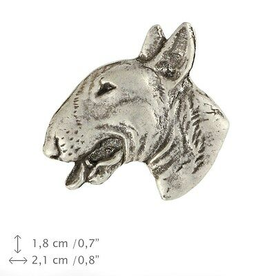 Bull Terrier head, silver covered pin, high quality Art Dog USA