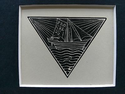 Eric Gill original wood engraving, Ship On Sail, limited edition 1929