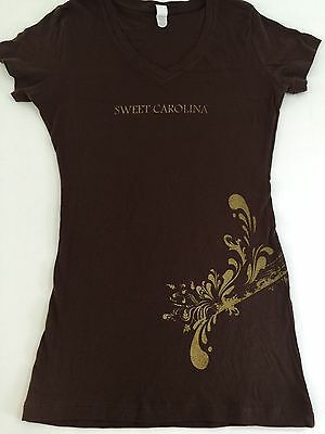 Sweet Carolina T-Shirt Women's Fitted Size Small Brown V-NECK NEW