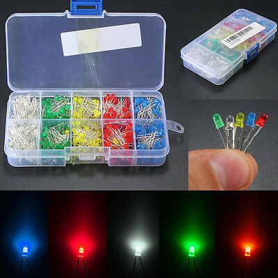 500pcs 3mm/5mm LED Diode Light White/Yellow/Red/Blue/Green Assortment Kit DIY US