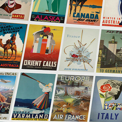 VINTAGE RETRO TRAVEL POSTERS - A6 - A4 - A3 - Prints - Home / Wall Art Decor