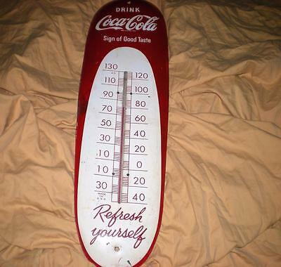 "VINTAGE RARE ORIGNAL 1949 DRINK COCA COLA ""CIGAR"" SIGN of GOOD TASTE THERMOMETER"