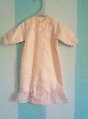 Antique Baby Gown VINTAGE infant dress Lace Trim embroidery and fleece lining