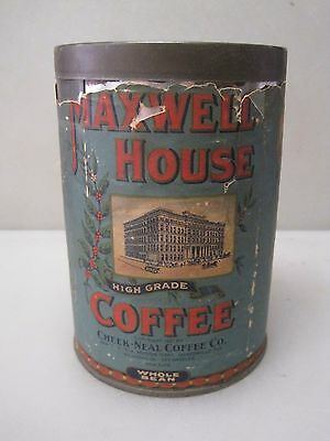 Antique 1926 - 1931 Maxwell House Coffee Paper Label Can  (B) B6330