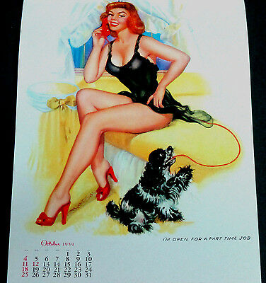 Thompson October 1959 Pinup Calendar Page Im Open For A Part Time Job