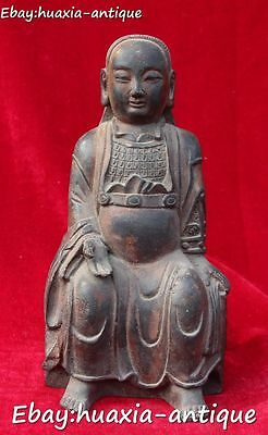 "9"" Old Chinese Ancient Bronze Seat Black Tortoise Rycunhua God Xuanwu Statue"