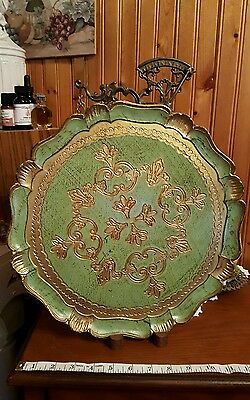 Vintage Italian Florentine Gold Gilt Tole Tray-GREEN AND GOLD-EUC