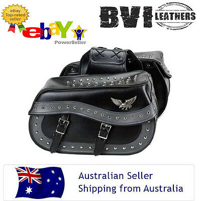 New Leather Saddle Bags Suitable For Harley Cruiser Sportster Motorcycle Black