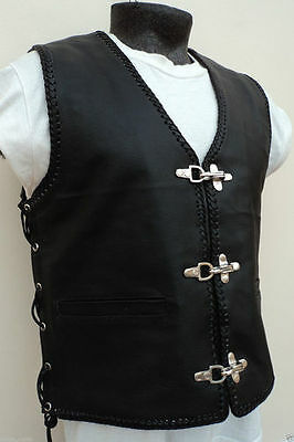 HIGH QUALITY MEN'S LEATHER MOTORCYCLE BIKER VEST BVI '3 BUCKLE' with side braids