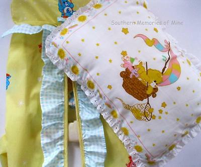 Vintage CARE BEARS Baby PILLOW and Diaper STACKER Nursery Baby Crib Bedding Set