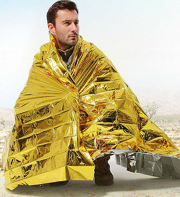 SPACE BLANKET Thermal Thermo Emergency Survival Camping Rescue First Aid Foil