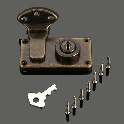 Retro Luggage Metal Latch Hasp Lock Antique Wooden Box Buckle Vintage with Key
