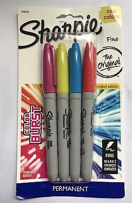 Sharpie Permanent Markers x 4 New Colours Fine Point
