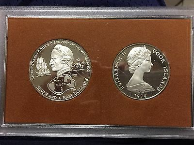 1974 Cook Island Proof Coinage Bicentenary Sterling Silver 2-Coin Set