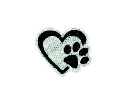 Patch ecusson brode thermocollant patte coeur love empreinte animaux ours