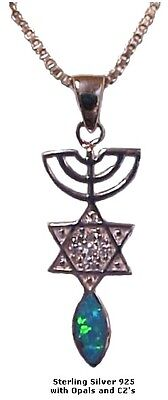 Menorah, Star & Fish Silver & with Opal and CZ's