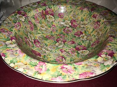 Vintage Chintz Bowl By Ridgway Contrasting Pink Flowers & Green & Yellow Foliage