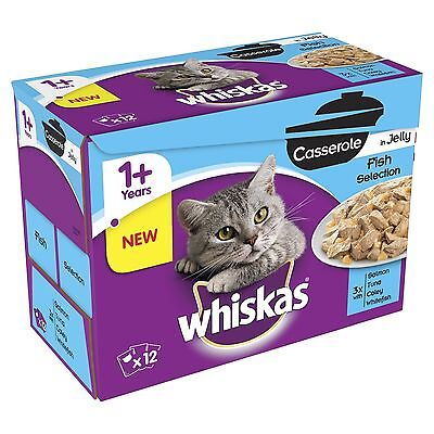 WHISKAS 1+ Cat Food Casserole Fish Selection in Jelly 12x85g 4pack (48 pouches)