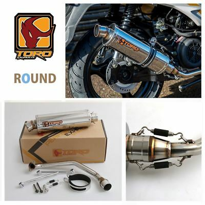 Toro T1 GY6 Round Stainless Exhaust System for Sinnis Shuttle 125 14-17